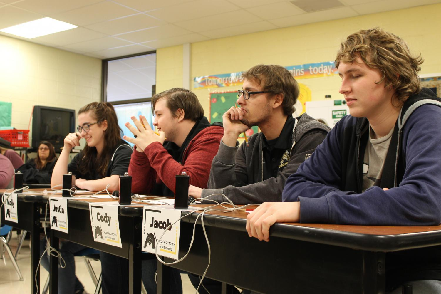 Molly Sikes, Justin Rhodes, Cody Phillips, and Jacob Mungle at the home Scholar Bowl meet