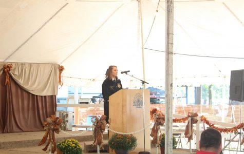 Jessika Matthews giving a speech at the SEMO fair.