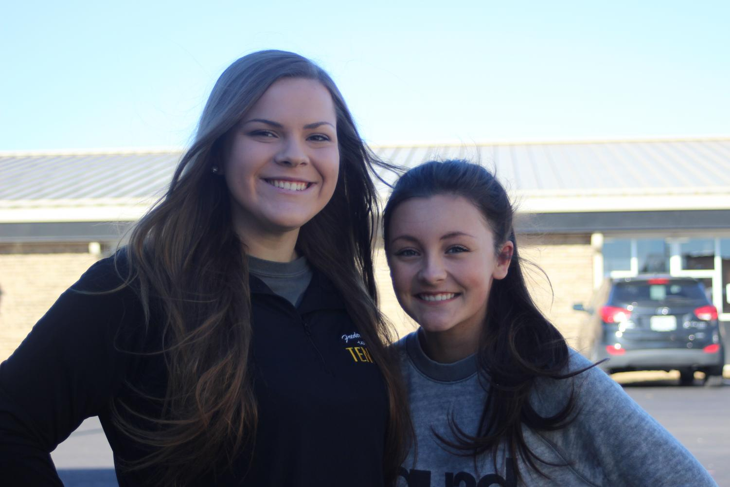 Bailey Stamp and Taylor Starkey after talking about their Fall Sports Banquet awards