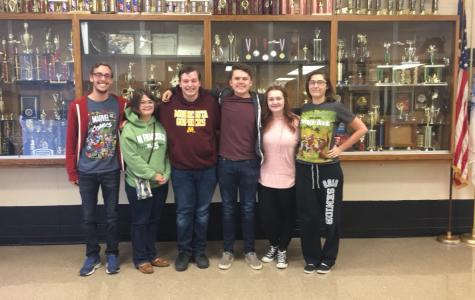 Scholar Bowl Seniors: Cody Phillips, Mya Robbins, Justin Rhodes, Skylar Tarkington, Jenna Martindale-Wood, and Allie Pickert