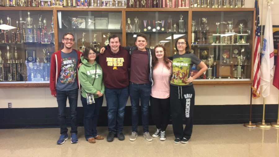 Scholar Bowl Seniors: Cody Phillips, Mya Robbins, Justin Rhodes, Skylar Tarkington, Jenna Martindale-Wood, and Allie Pickert