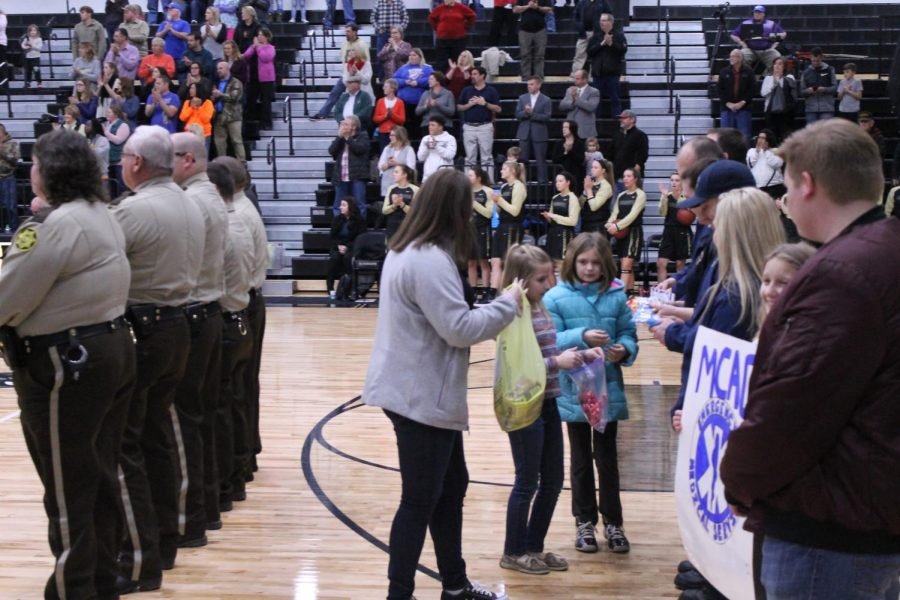 Student Council member, Abby White thanking first responders.