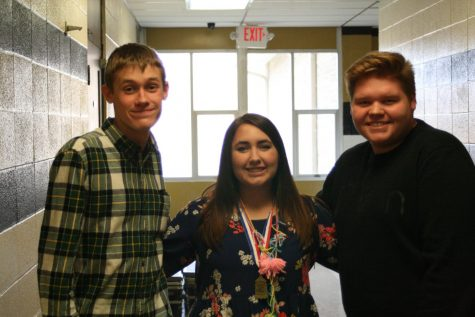 Three choir students: Daniel Renshaw, Haley Gilmore, and Wyatt Hurley.