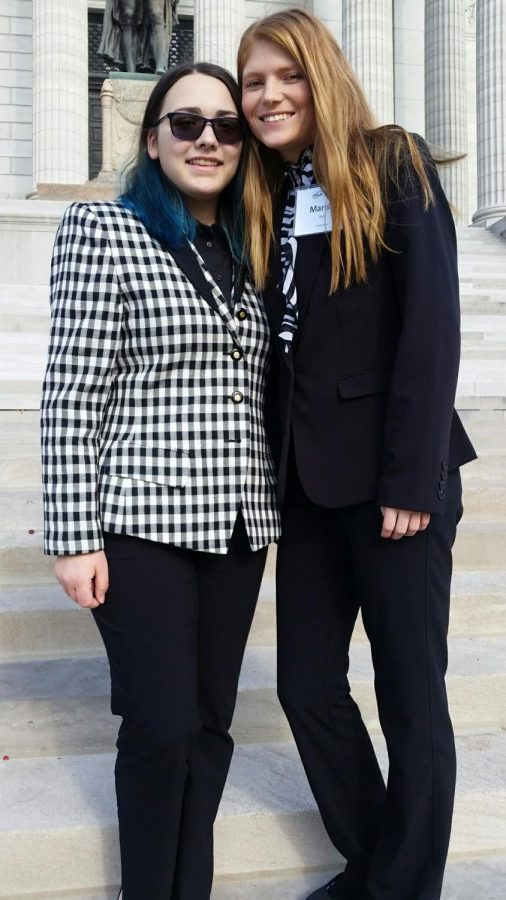 Brookelyn Lord and Marissa Hale on the steps of the Capitol in Jeff City