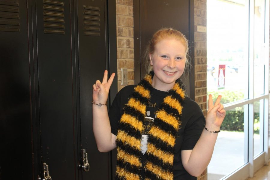 Olivia Ebert dressed up for Black and Gold day