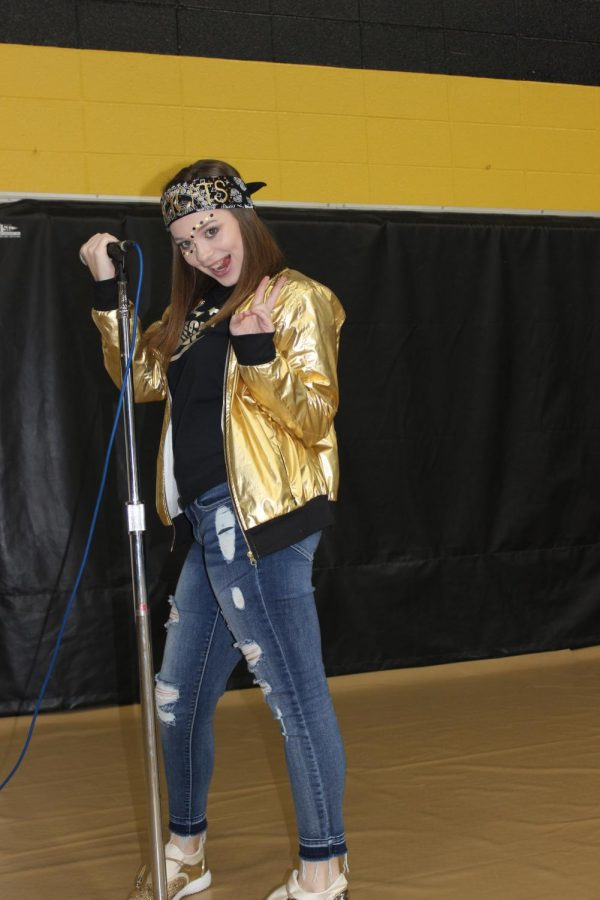 Kaitlyn Coffman dressed up for black and gold day