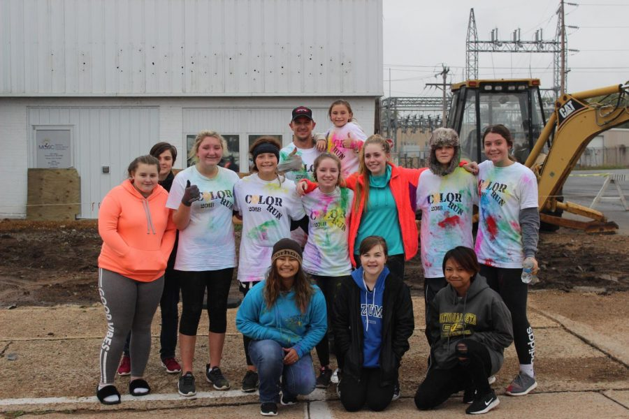 All the helpers and runners that were in the color run.