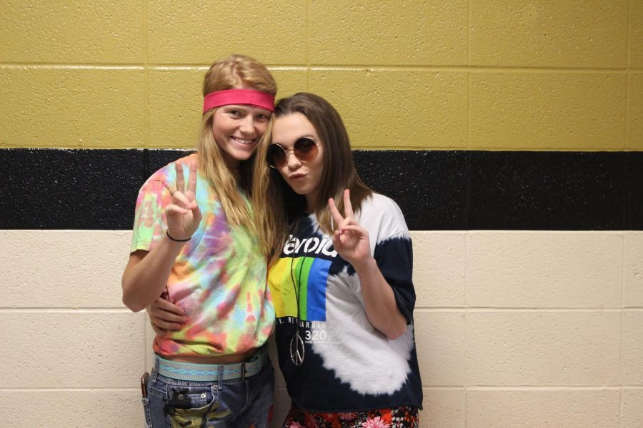 Marissa Hale and Kaitlyn Coffman dressed for hippie day