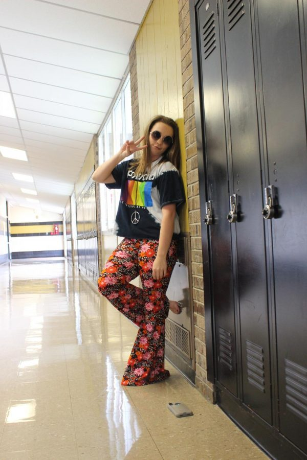 Kaitlyn Coffman dressed up for hippie day