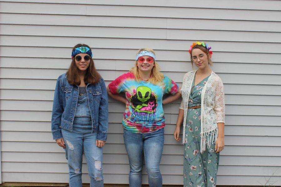 Elizabeth Snyder, Aalihya Wehner, Ryska Berkbuegler dressed up for hippie day