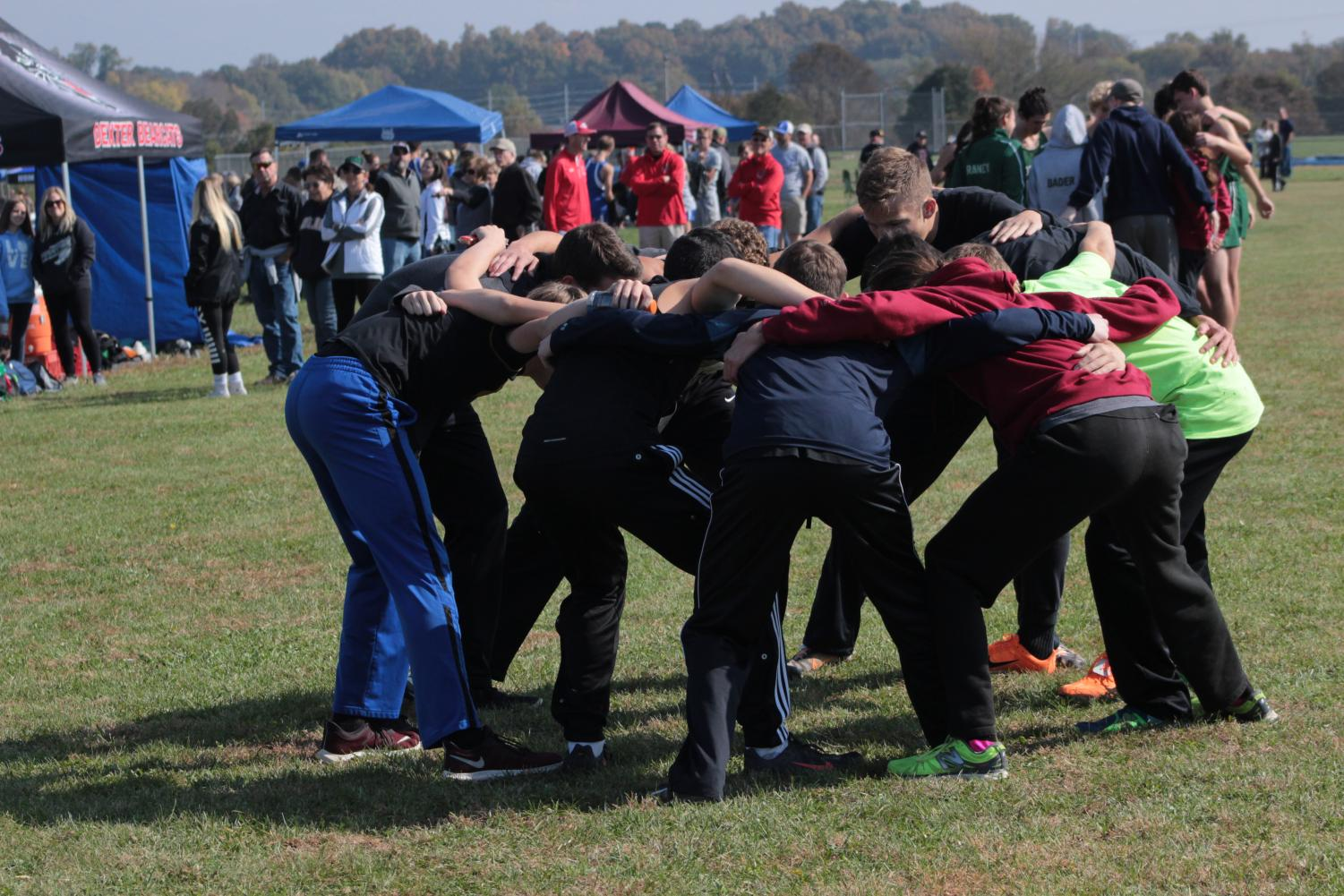 The Cross Country team getting ready for their run