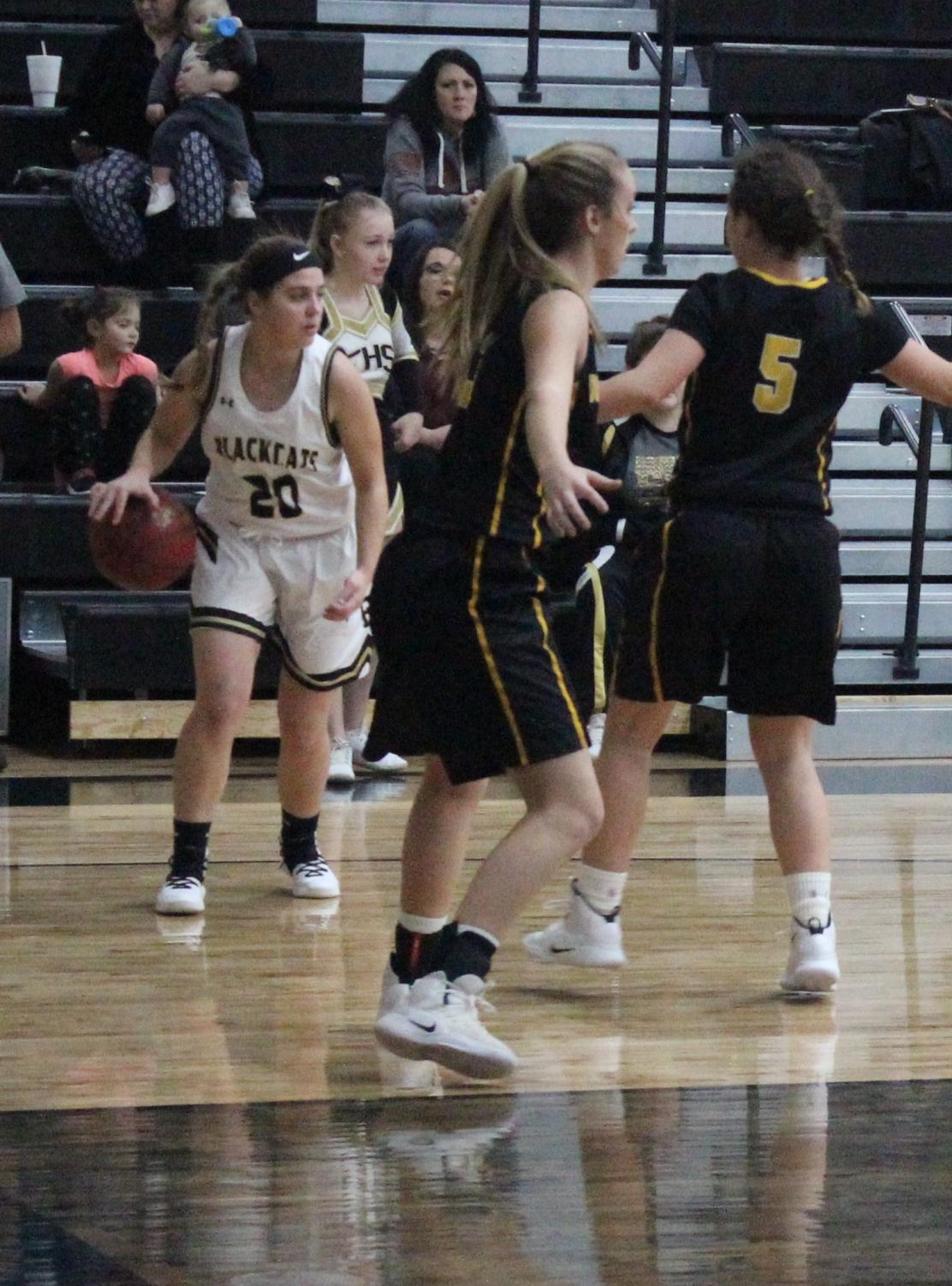 Senior Kylie Bastie on offense at the January 8th home game against Doniphan.