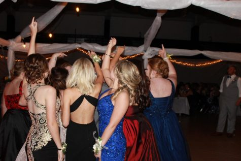 Girls dancing at prom