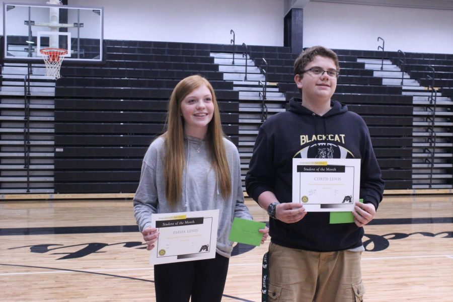 Emma Lewis and Curtis Lewis share not only the same last name but also the Student of the Month award from the social studies department.