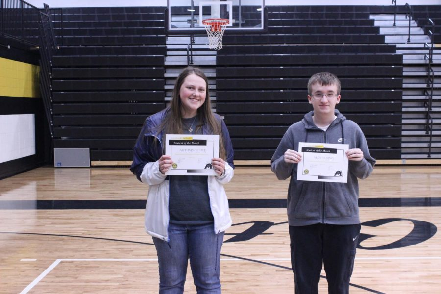 Seniors Autumn Settle and Alex Young take Student of the Month honors for the vocational education department.