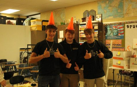 Dawson Bufford, Josiah White, and Colton Francis working hard in Student Council's leadership class