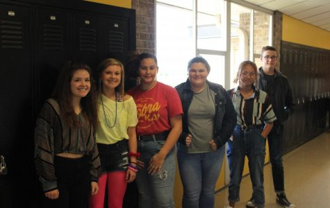 This wild group of Sophomores - Lillian Penwell, Callie Slinkard, Alex Harris, Breanna White, Lucy Pham, and Zachary Stevens - kick off the spirit week by being few of the many students who dressed up like the 80's for Manic Monday.