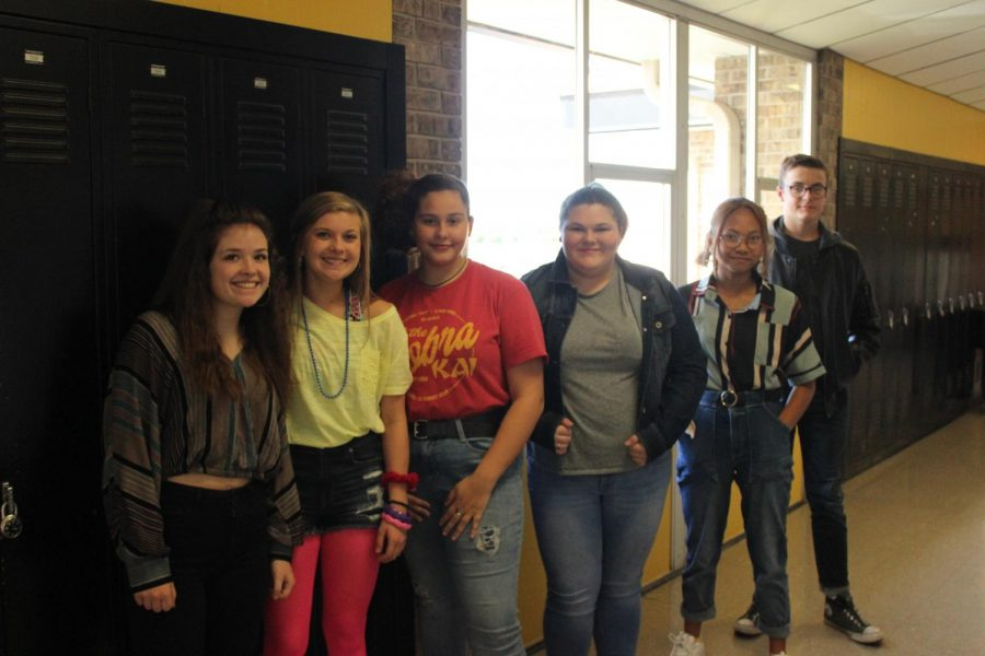 This wild group of Sophomores - Lillian Penwell, Callie Slinkard, Alex Harris, Breanna White, Lucy Pham, and Zachary Stevens - kick off the spirit week by being few of the many students who dressed up like the 80