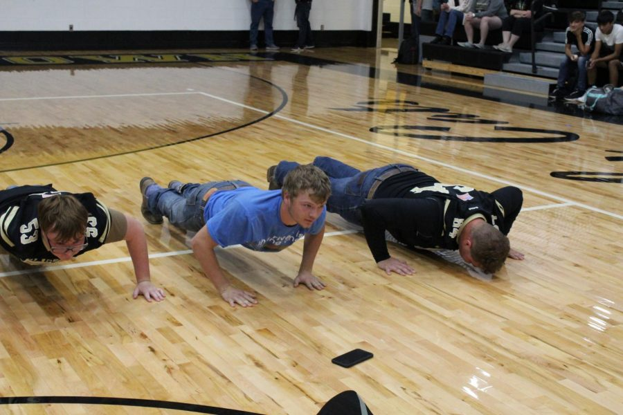 The senior competitors in the push-up competition.
