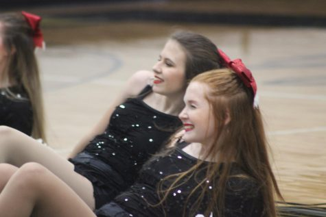 "Layni Kinkead and Stella Steck carefully go through the motions of their 2019 Christmas dance to the song ""Underneath the Tree"" while maintaining perfect facial expressions."