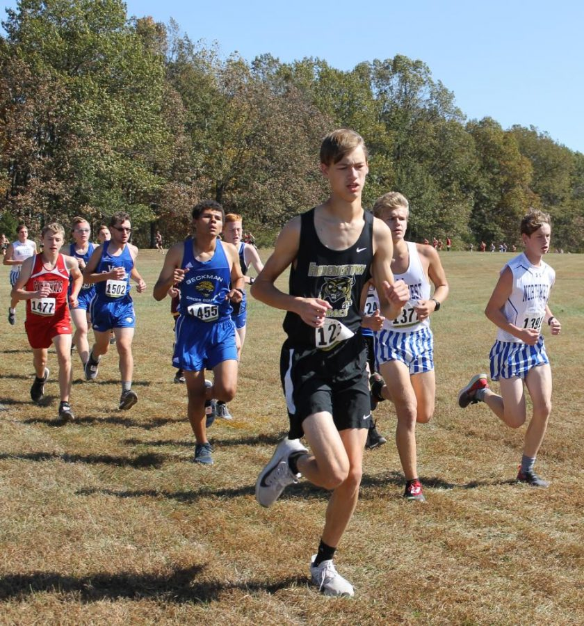 Caleb Jenerkerson (10) starting off strong while getting in front of a group of competitors.