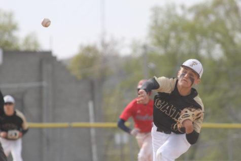 Garrett Marler (10) pitching as a starter for varsity.