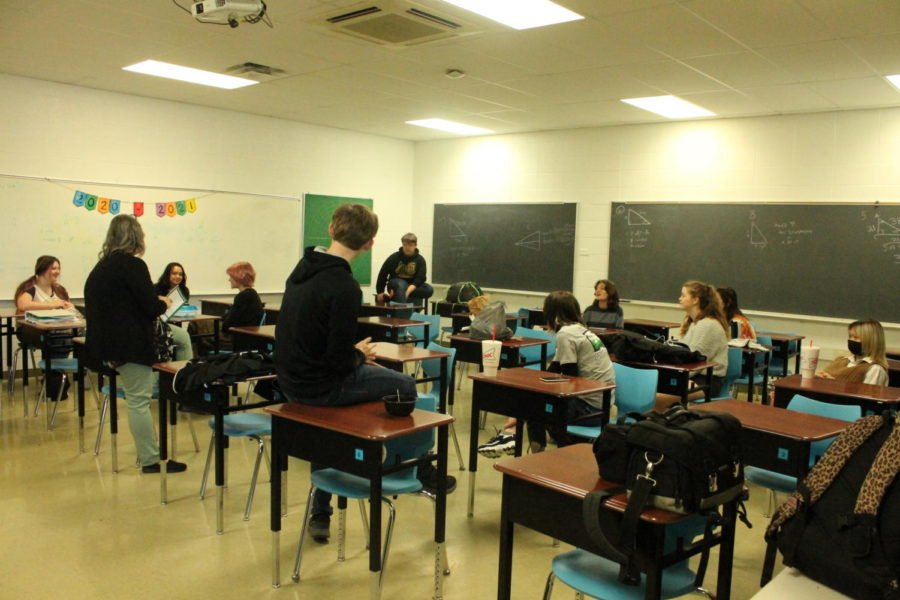 The Scholar Bowl team gathered for a practice in Mrs. Hovis's classroom.