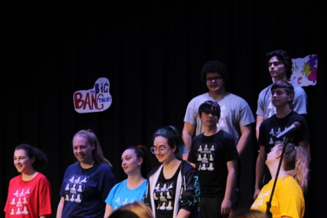 A group of choir members during the performance of Friends Forever Medley.  Top row, Landon McClanahand (9) and Brennon Hunt (10), below them Jackson Sutton (9) and Leif Olson (9), bottom row are seniors Bittany Easley, Elizabeth Dane, Jayda Saffel, Atira Williams, and Abigail Stacy.