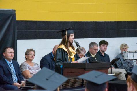 Anna Robbins during her salutatorian speech at graduation.