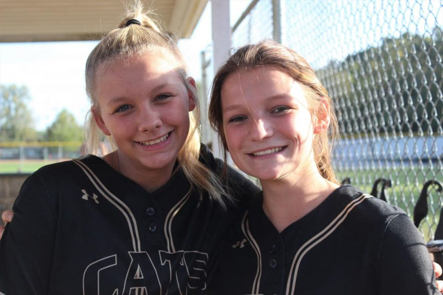 Brayleen Sarakas (9) and Sadie Gibson (10) posing for a picture at the district game agaisnt Notre Dame (St. Louis).